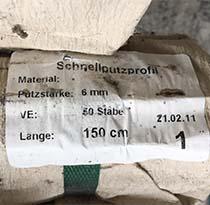 Schnellputzprofil, verzinkt (23/6, 1,5 m)