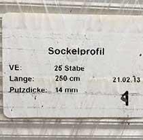 Aussenputz-Sockelprofil, verzinkt (49/14, 2,5m)
